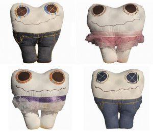 Téo, Bel, Lia e Ton: os Dentes da Fada criados pela Dani Lessa. R$ 38,50 cada